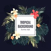 stock photo of hawaiian flower  - Summer tropical hawaiian background with palm tree leavs and exotic flowers - JPG