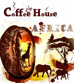 picture of ethiopia  - Coffee poster with coffee grain spots and African animals Ethiopia coffee - JPG