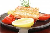 stock photo of plate fish food  - healthy diet food - JPG