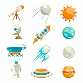 pic of astronomy  - Vector flat space icon set - JPG
