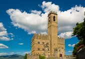 picture of yellow castle  - Public monument of Poppi Castle in Tuscany Italy - JPG