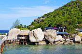 foto of beach-house  - asia kho tao bay isle white beach rocks house boat in thailand and south china sea - JPG