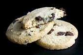 stock photo of shortbread  - Round chocolate chip shortbread biscuits - JPG