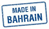pic of bahrain  - made in Bahrain blue square isolated stamp - JPG