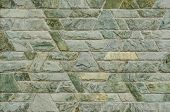 picture of trapezoid  - pattern color of modern style design decorative green slate stone wall surface with cement in trapezoid shape - JPG