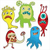 pic of halloween characters  - Set of Cute cartoon Monsters - JPG