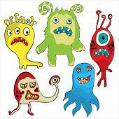 stock photo of monster symbol  - Set of Cute cartoon Monsters - JPG