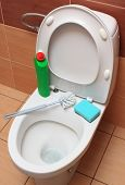 picture of household  - Accessories for cleaning on toilet bowl concept for house cleaning and household duties - JPG
