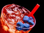 stock photo of tumblers  - Cold red blueberry drink  with blue berry  - JPG