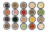stock photo of immune  - Immune boosting health super food selection in porcelain dishes on slate rounds over white background - JPG
