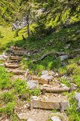 pic of bavarian alps  - Stairs to the Jaegerkamp in the Bavarian Alps - JPG