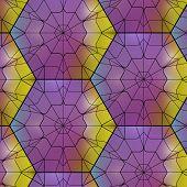 stock photo of tetrahedron  - Seamless gemstone vector pattern with cubes and pyramids - JPG
