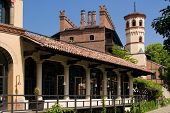 stock photo of turin  - A palace in the medieval village of Turin Italy - JPG