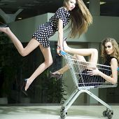 stock photo of trolley  - Two young attractive funny fashionable girls in dresses with shopping trolley indoor on store backdrop sqare picture - JPG