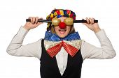picture of maracas  - Pretty female clown with maracas isolated on white - JPG