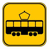 pic of tram  - Tram button on white background - JPG