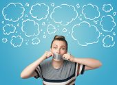 picture of taboo  - Funny person with taped mouth and hand drawn clouds around head - JPG