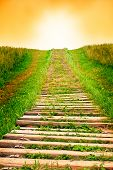 picture of stairway to heaven  - Old wooden stairway stretching into the sky - JPG