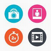 Постер, плакат: Photo camera icon Flash light and video frame