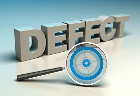 foto of zero  - Word defect with magnifier and target - JPG