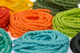 pic of roping  - colorful rope made from mulberry paper on white background - JPG