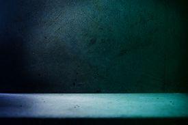 stock photo of stone floor  - Stone room in blue tone - JPG