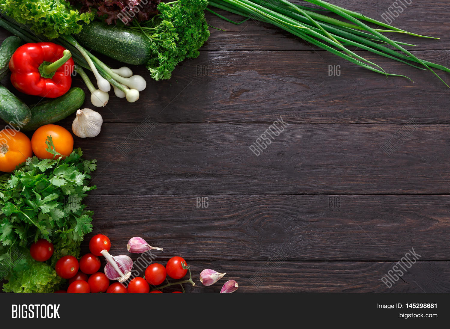 on wood background. Healthy natural food on rustic wooden table ...