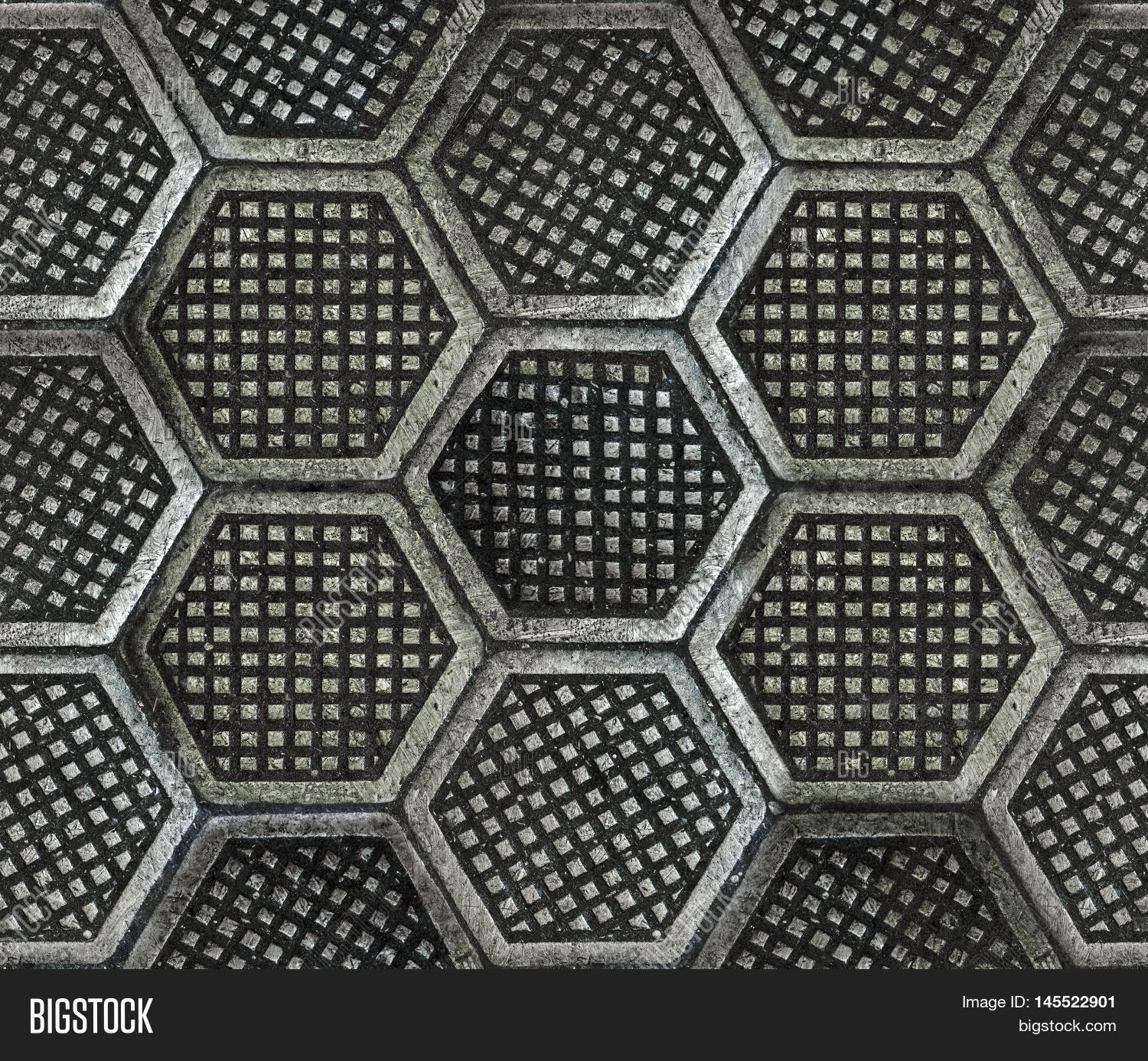 Seamless texture of factory floor made of hexagonal cast iron tiles Dirty dark and old style - Factory Floor Plans
