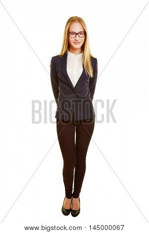Young blonde businesswoman isolated on a white background