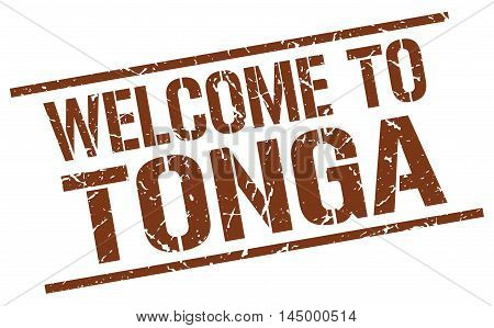 welcome to Tonga. stamp. grunge square sign