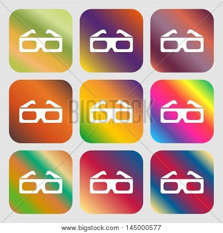 3D Glasses Icon . Nine Buttons With Bright Gradients For Beautiful Design. Vector