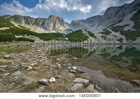 Afternoon panorama of Sinanitsa Peak and lake, Pirin Mountain, Bulgaria