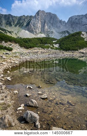 Afternoon landscape of Sinanitsa Peak and lake, Pirin Mountain, Bulgaria