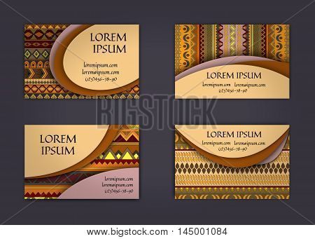 Business Card Or Visiting Card Template With Boho Style Pattern Background.corporate Identity Design