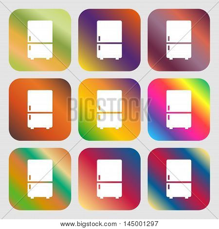 Refrigerator Icon . Nine Buttons With Bright Gradients For Beautiful Design. Vector