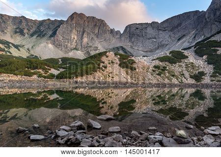 Sunset panorama of Sinanitsa peak and  the lake, Pirin Mountain, Bulgaria