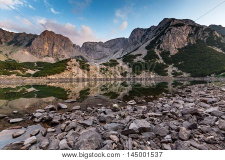 Sunset view of Sinanitsa peak and  the lake, Pirin Mountain, Bulgaria