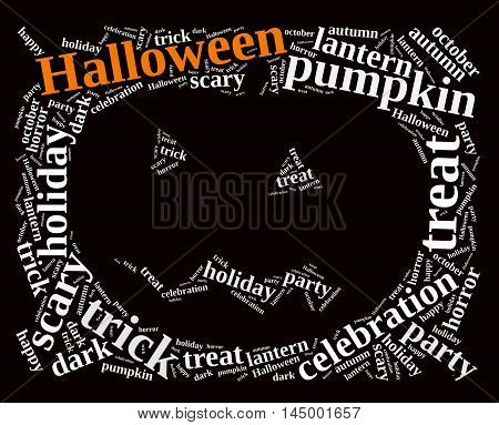 An illustration with word cloud on Halloween.3D rendering