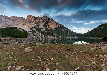 Amazing Sunrise of Sinanitsa peak and  the lake, Pirin Mountain, Bulgaria