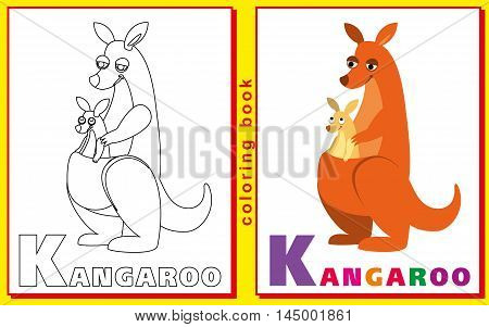 kangaroo. Coloring book with letters for children. vector image