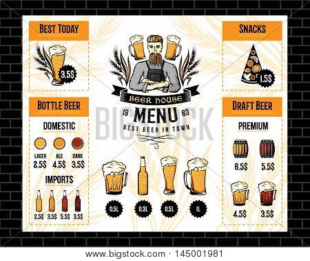 Beer pub menu with brewer emblem cereal decorations and drink icons. Restaurant flyer vector template. Alcohol bar brochure.