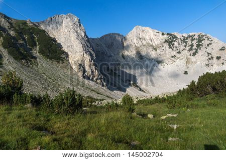 Amazing Panorama of rocks of Sinanitsa peak covered with shadow, Pirin Mountain, Bulgaria
