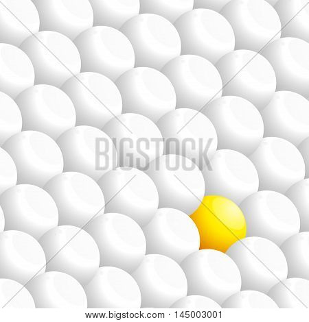 White 3D Spheres Background with One Yellow Sphere Stands Out