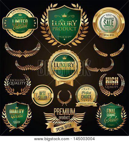 Golden sale shields laurel wreaths and badges collection