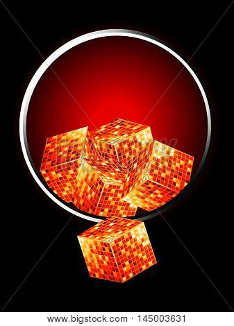 Golden 3D Cubes Overflowing From Metallic Border Over Black and Red Background