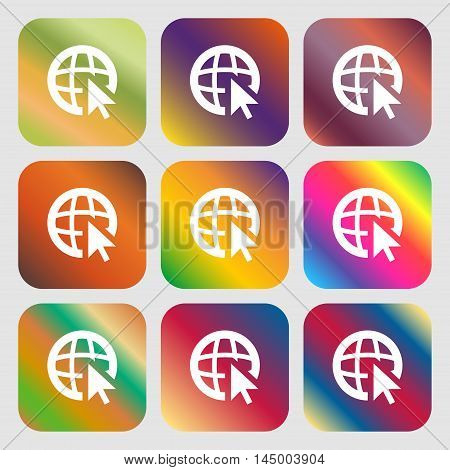 Internet Sign Icon. World Wide Web Symbol. Cursor Pointer . Nine Buttons With Bright Gradients For B