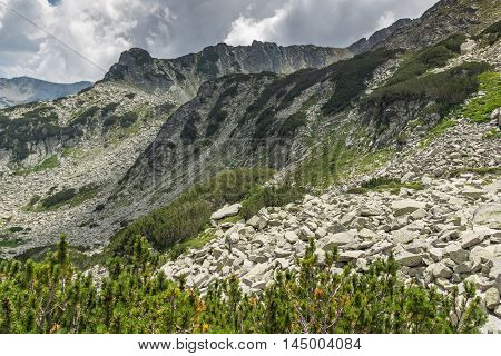 Landscape of Rocky hills on the path to Banderitsa pass,  Pirin Mountain, Bulgaria