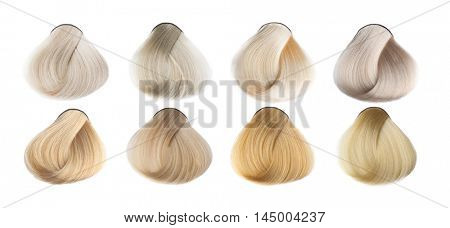 Hair Palette of different colors. Sample of colorful hair on white background