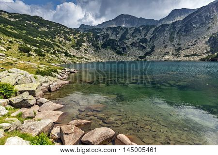 Panoramic view of Banderishki Chukar Peak and The Fish Lake, Pirin Mountain, Bulgaria