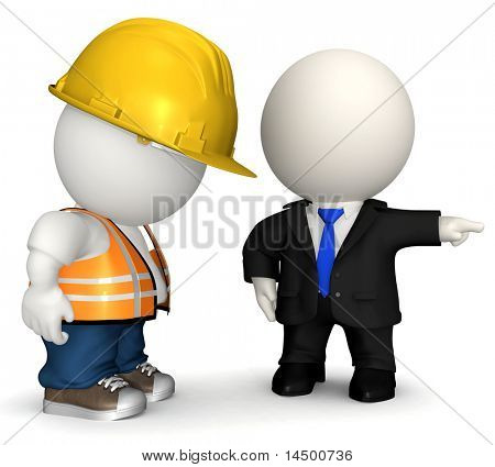 3D Business man firing a road worker  - isolated over a white background